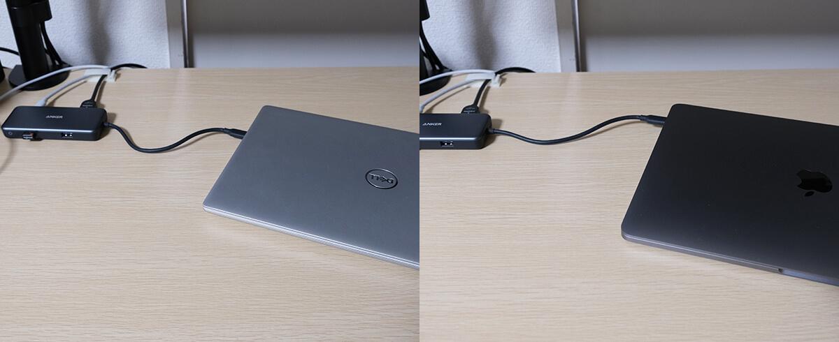 AnkerのTypeーC ハブで繋げたDell Inspiron 13 7391とMacBook Pro