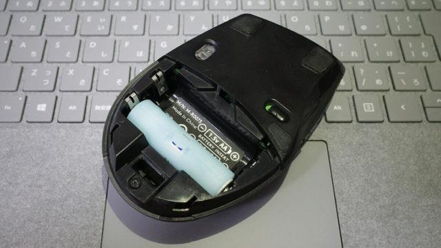 電池アダプターを使って単4電池1本にしたワイヤレスマウス