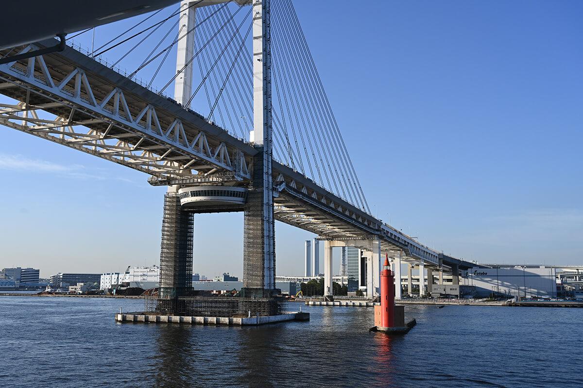 横浜ベイブリッジの下を通過するダイヤモンド・プリンセス