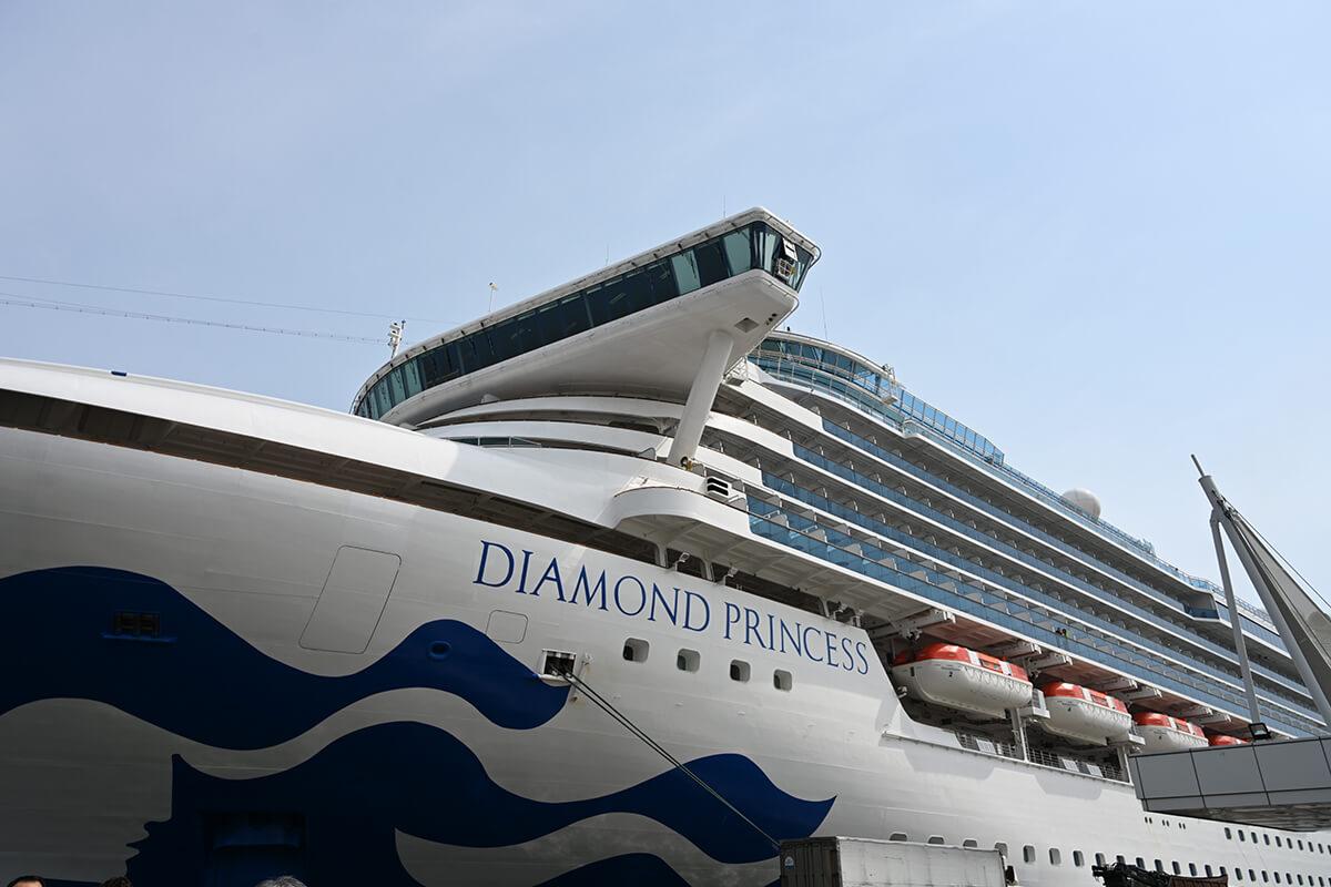 釜山の港から見たダイヤモンド・プリンセス