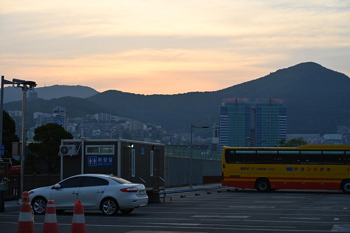 釜山の港で見た夕焼け