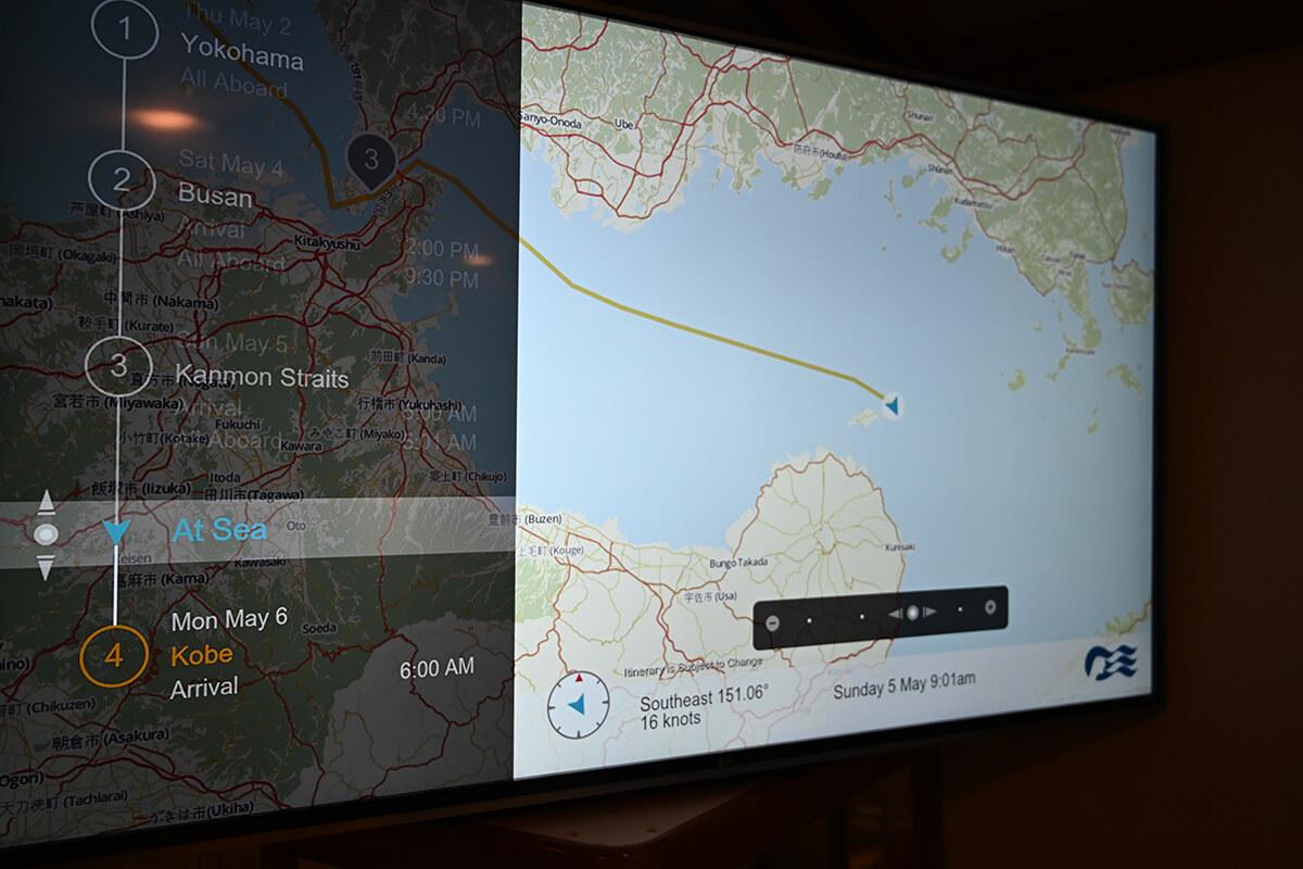 ダイヤモンド・プリンセス 絵屋のテレビで見れる航海地図