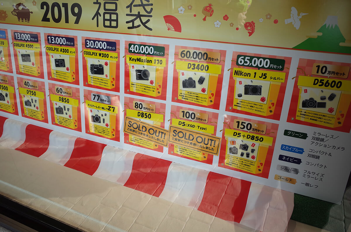 ニコンダイレクト 神戸三田プレミアムアウトレット店 2019年福袋の在庫状況