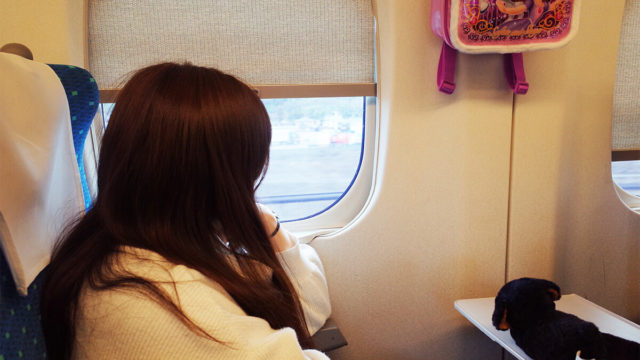 新幹線で窓の外を見る美女